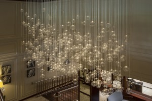 glass ball chandelier hotel